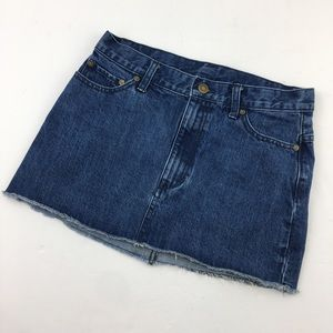 FREE PEOPLE Dark Wash Denim Raw Hem Short Skirt